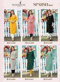 SPARSH VOL 2 Designer Rayon Weaving Lining Embroidery & Handwork Kurtis With Pant