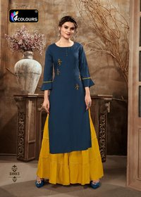 Zulfat Designer Presents Rayon Kurtis With Gharara Pant