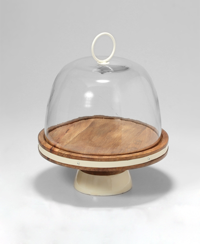 11.25'' Metal Base With Glass Cake Dome