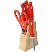 Wooden Stand And SS Knife Set