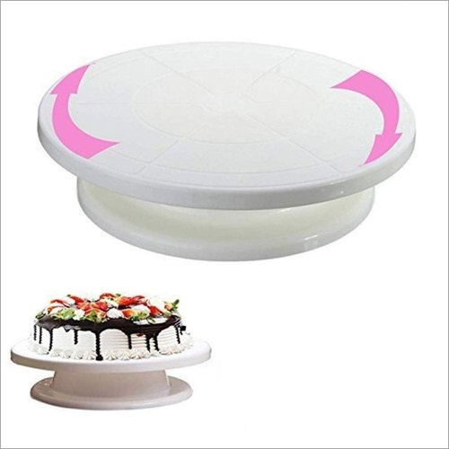 28 cm White Plastic Cake Decorating Turntable Stand