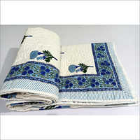 Hand Block Print cotton quilted bedcover