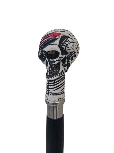 Skull Head Black Wooden Walking Stick