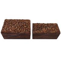 Mango Wood Carved Box Set Of 2