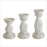Wooden Candle Holder Stand Set
