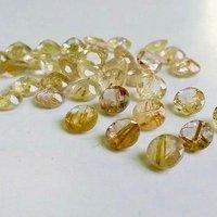 6mm Golden Rutilated Quartz Faceted Round Loose Gemstones