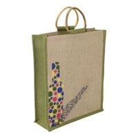Cane Handle Multicolor Print Jute Tote Bag