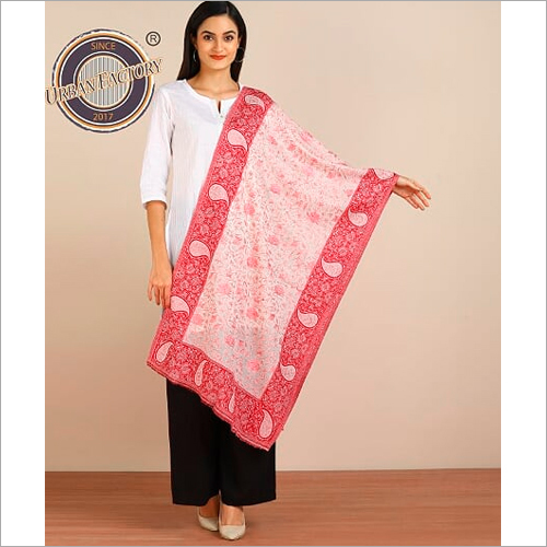 Pashmina Fine Wool Lace With Shimmer Self Design Stole