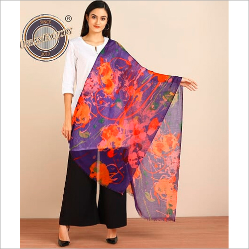 Pure Wool Matty Weave With Digital Print Design Stole