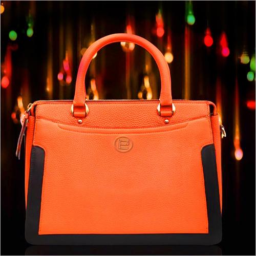 Orange Leather Ladies Hand Bag
