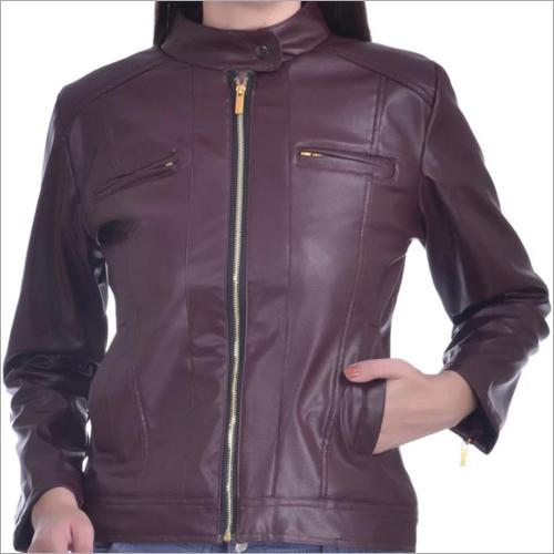 Ladies Leather Zipper Jacket