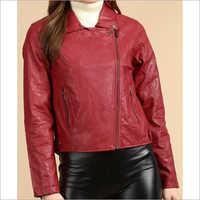 Ladies Red Leather Jacket