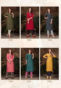 Bell Bottam Heavy Magic Slub Two Piece Catalogue Kurti With Pent