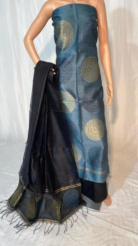 Party Wear Poly Dupion Raw Silk Handloom Unstiched Salwar Suit