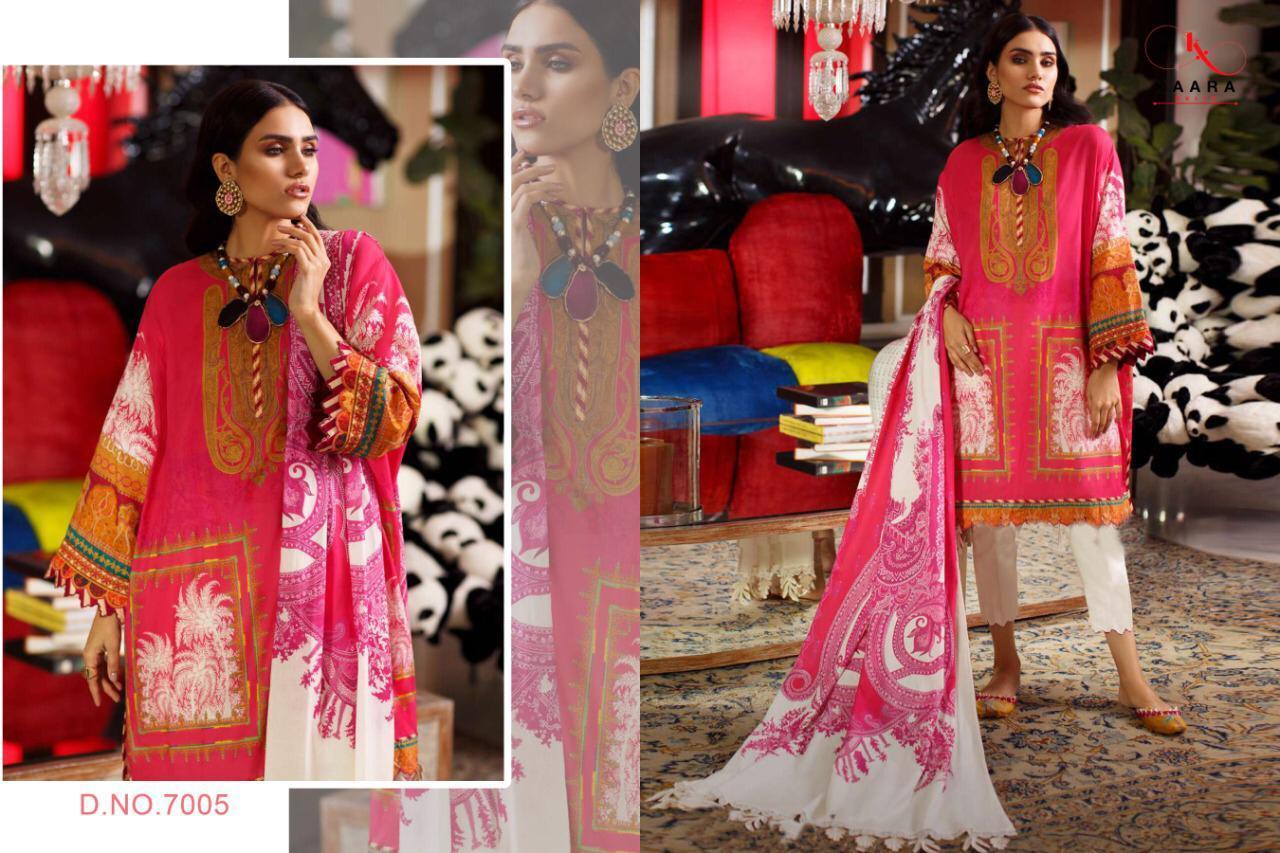 Kaara Suits Firdous Lawn Vol 7 Cotton Print With Work Pakistani Dress Material Catalog