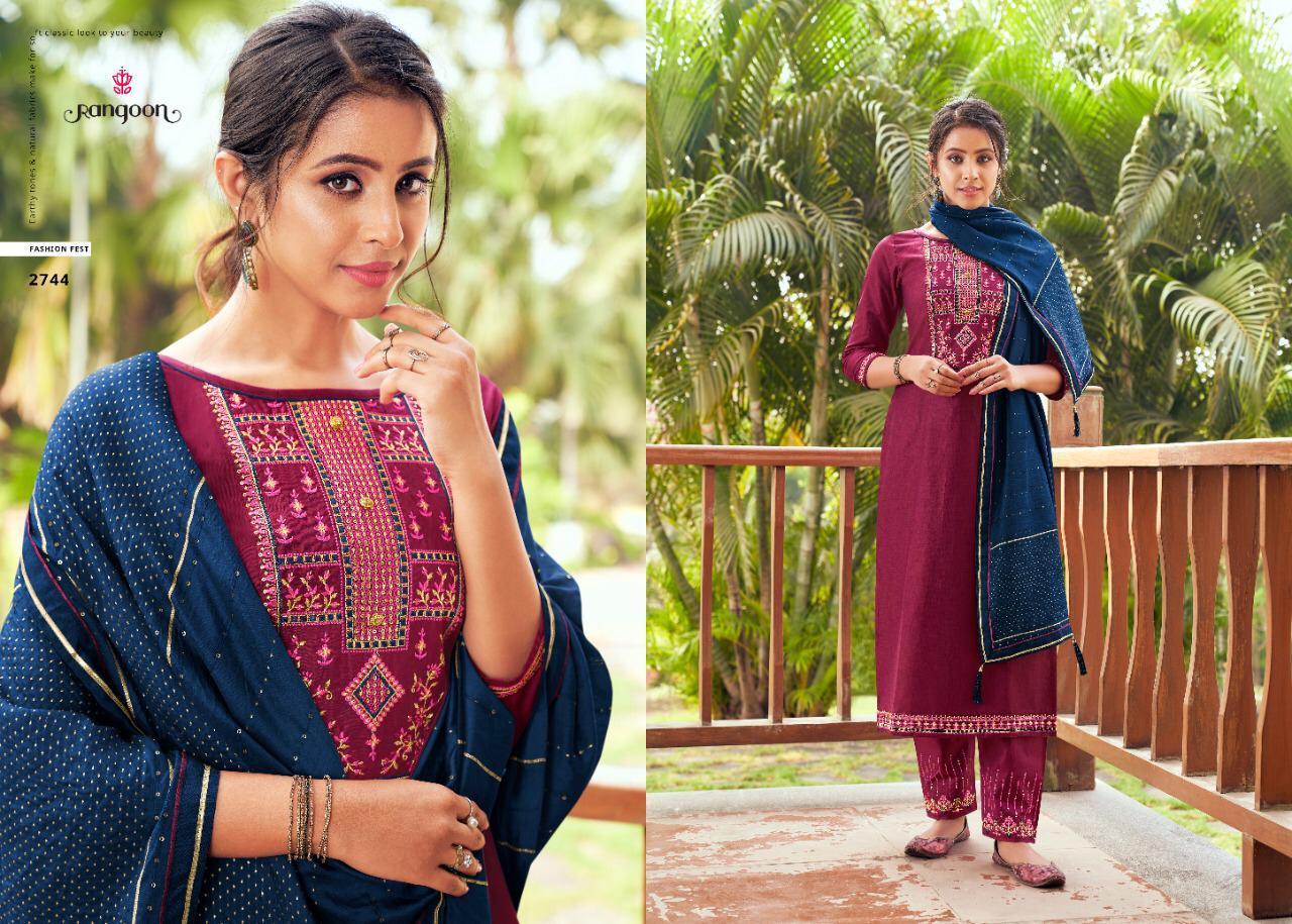 Rangoon Vaani Cotton Silk With Work Readymade Salwar Suit Catalog
