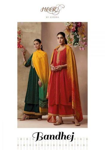 Kimora Heer Bandhej Modal Silk With Work Straight Salwar Kameez Catalog
