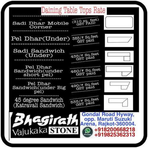 Dinning table tops