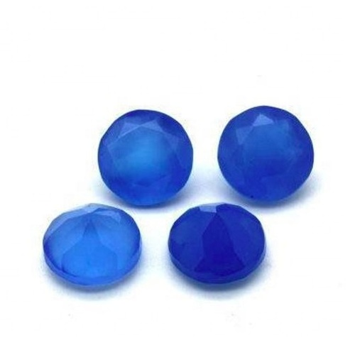 10mm Blue Chalcedony Faceted Round Loose Gemstones
