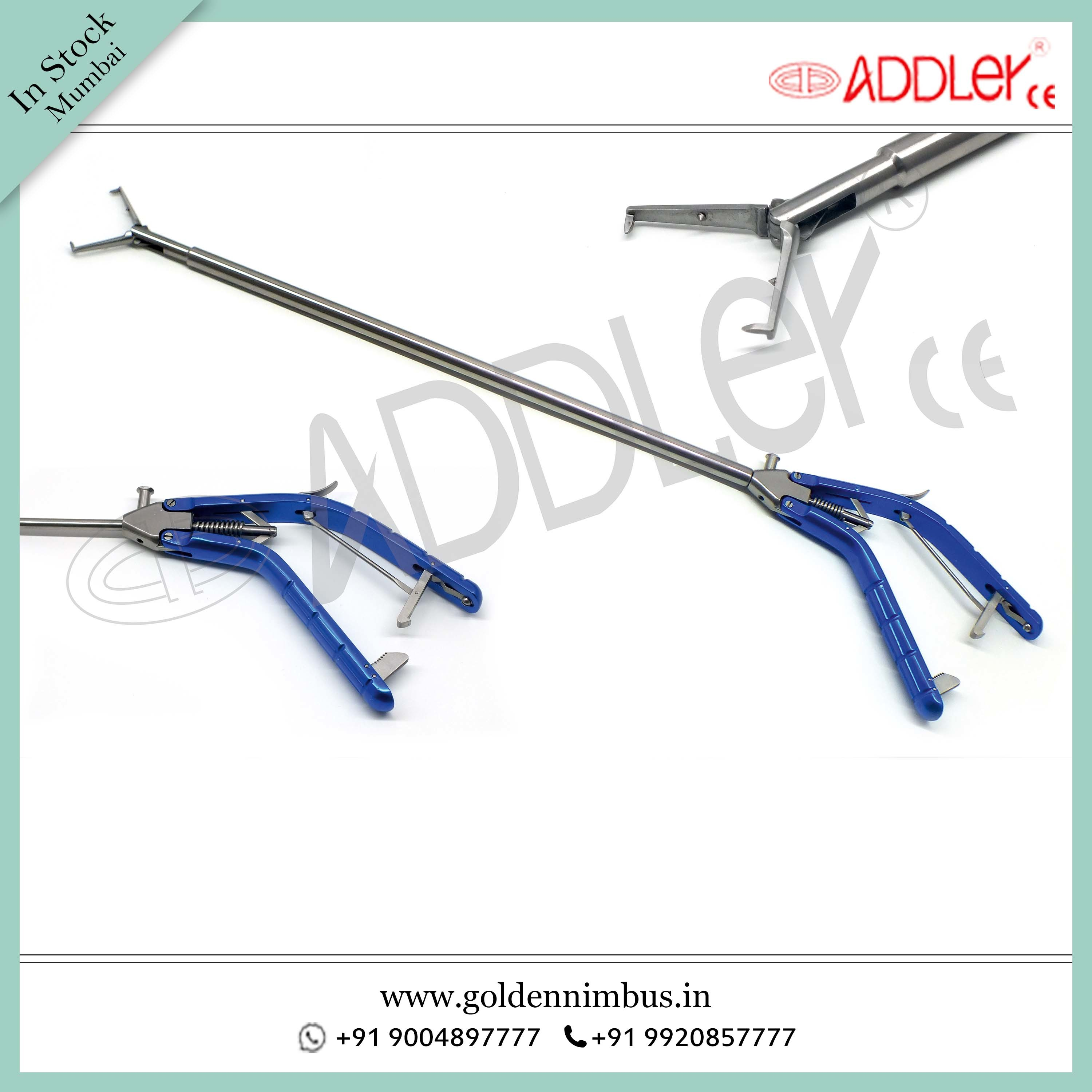 Brand New ADDLER Laparoscopic 10mm Tenaculum Needle Holder Storz Type Handle
