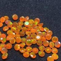 6mm Orange Ethiopian Opal Faceted Round Loose Gemstones