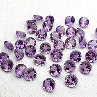 7mm Brazil Amethyst Faceted Round Loose Gemstones
