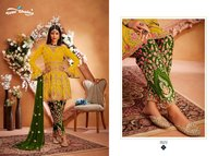 Maria-b. Gold Designer Heavy Georgette Dress Materials Marriage Special