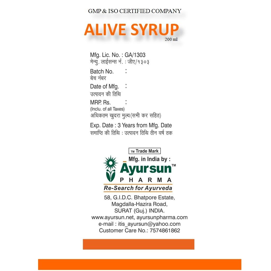 Ayursun Herbal Ayurvedic Syrup For Liver Tonic - Alive Syrup