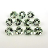7mm Green Amethyst Faceted Round Loose Gemstones