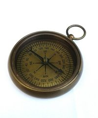 Antique Brass Flat Compass Nautical Compass