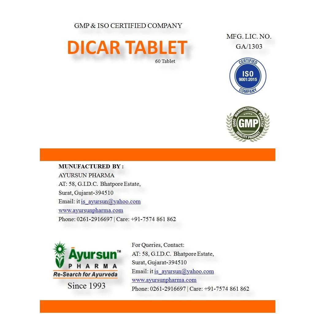 Ayurvedic Herbal Medicine For Digestive Tract - Dicar Tablet