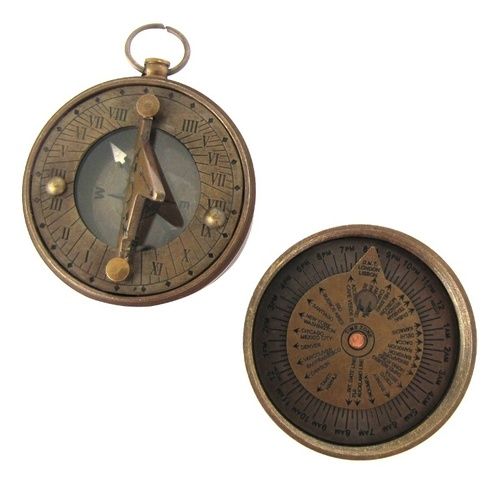 Antique Pocket Sundial Compass 2 Inch