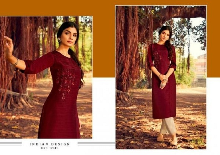 Kalaroop Zili Lining Silk With Work Designer Kurti Catalog