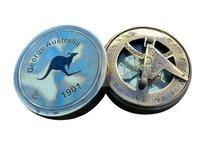 1901 George Australia Brass Sundial Compass Antique Vintage Sundial Compass