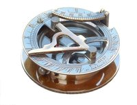 Antique Round Sundial Compass 2.5 Inch Brass Collectible Nautical Sundial Compass