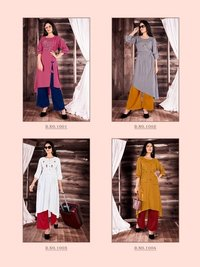 Culture Designer Rayon Embroidery Kurtis