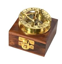 Nautical Brass Sundial Compass 2.5 Inch with Wooden Box