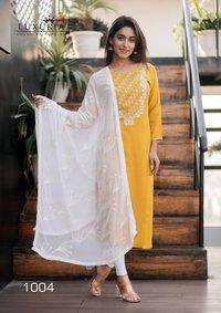 Ruhani Designer Premium Rayon Slub Fancy Embroidery Kurtis With Dupatta