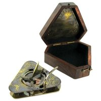 Antique Triangular Sundial Compass With Wooden Box
