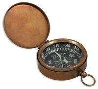 Vintage Look Nautical Brown Antique Pocket Compass with Lid