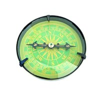 Nautical Antique Brass Flat Compass with Green Dial
