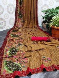 Designer Brasso Fabric Saree