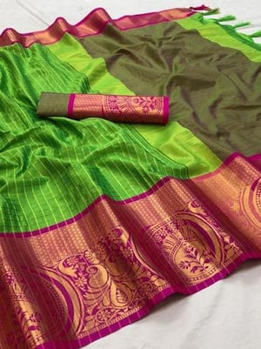 Cotton Silk Saree With Tree And Mango Border