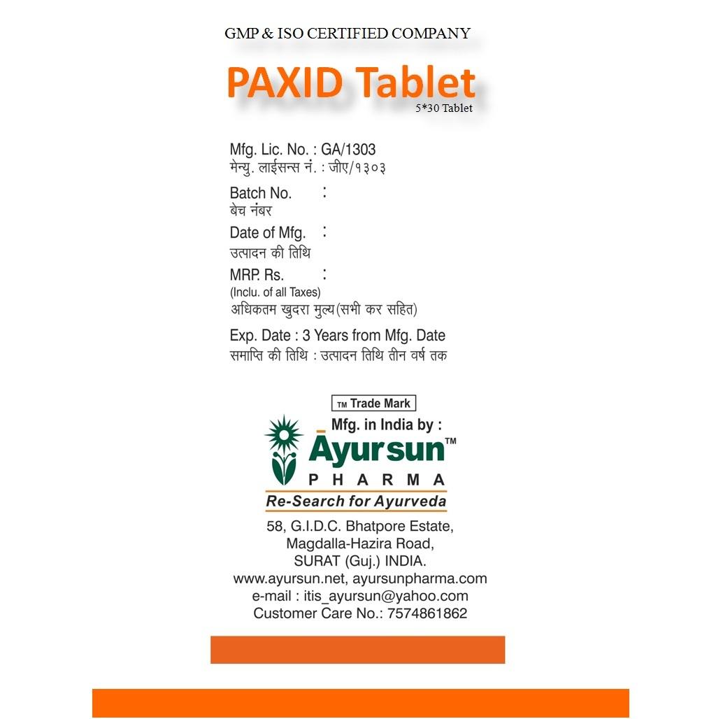 Ayurvedic Ayursun Herbal Medicine For Gastritis - Paxid Tablet