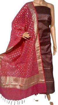 Pure Tussar Silk Kurti 2.5 Mtrs With Bandhani Banarsi Tussar Silk Long Dupatta