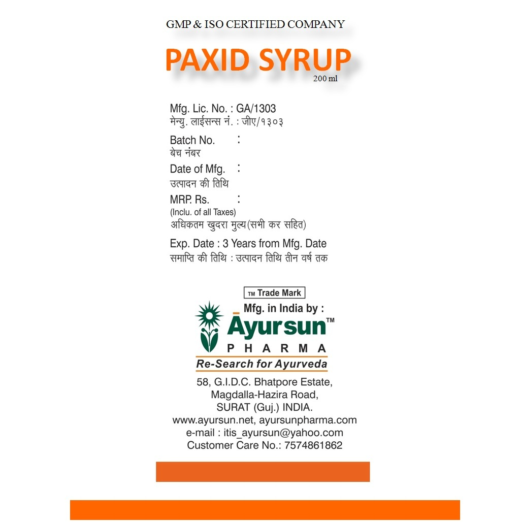 Ayurvedic Herbal Syrup For Acid Peptic Disorders-Paxid Syrup