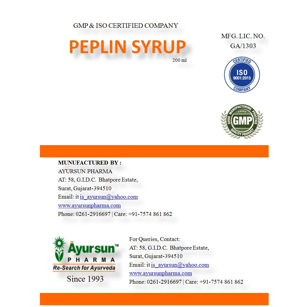 Herbal Ayurvedic Syrup For Enzyme - Peplin Syrup