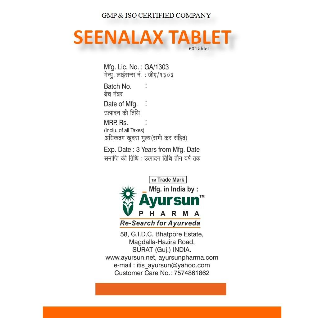 Ayurvedic Ayursun Seenalax Tablet For Constipation