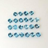3mm Swiss Blue Topaz Faceted Round Loose Gemstones