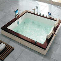 Rectangular Twin Seater Whirlpool Bathtub